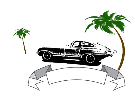 illustration of retro car and text banner Illustration