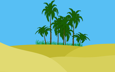 oasis: illustration of oasis in desert palms and green grass