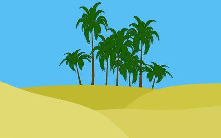 illustration of oasis in desert palms  illustration