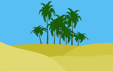 illustration of oasis in desert palms