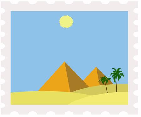 postman of the desert: illustration of egypt pyramids on post stamp