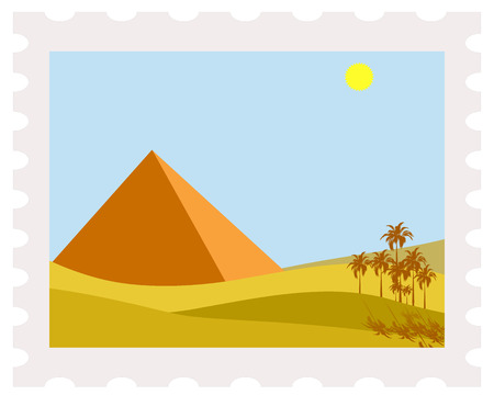 postman of the desert: illustration of egypt pyramid on post stamp Illustration