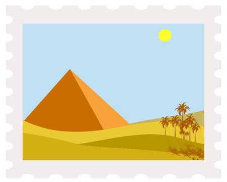 Ilustración de la pirámide de Egipto en sello de correos Ilustración de vector
