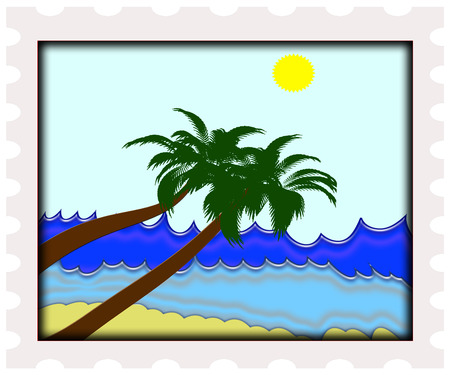 illustration of perfect ocean beach with palm trees Stock Vector - 6451562