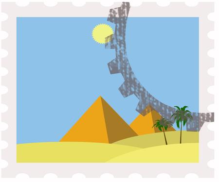 postman of the desert:  egypt pyramids on postage stamp