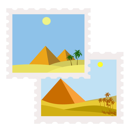 postman of the desert: ilustration of egypt postage stamps with pyramids