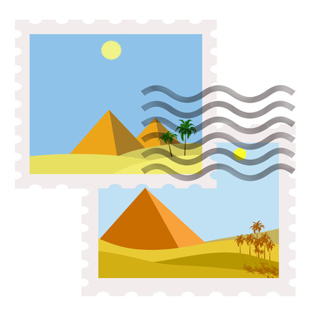 postman of the desert: ilustration of egypt postage stamps with stamp