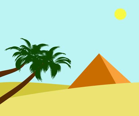 Ilustración de la pirámide de Egipto y sol brillante