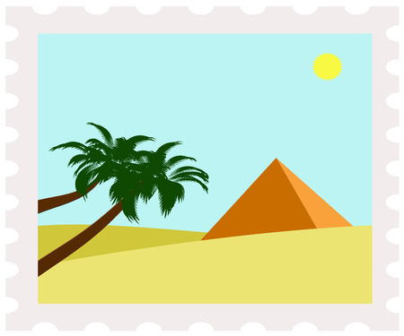 postman of the desert: illustration of egypt pyramid on postage stamp