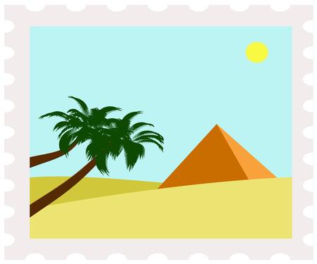 postman of the desert: illustration of egypt pyramid on postage stamp