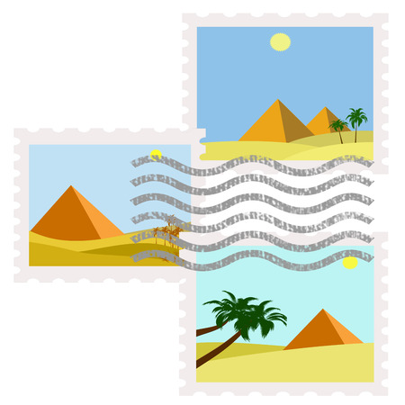 postman of the desert: illustration of egypt pyramids postage stamps used