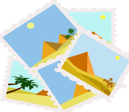 postman of the desert: illustration of egypt pyramids postage stamps isolated Stock Photo