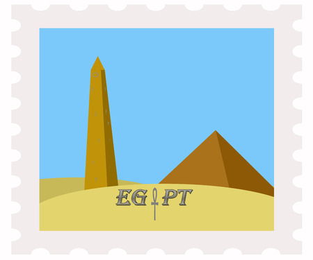 pyramid of the sun: illustration of egypt pyramids and obelisk on post stamp