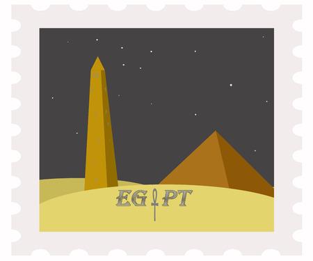 postman of the desert: illustration of egypt pyramids and obelisk on post stamp
