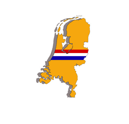 illustration of netherland flag and map isolated Vector
