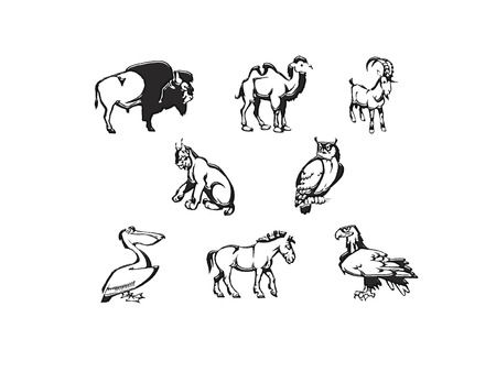 biggest animal: illustration of some  icons animals  black and white