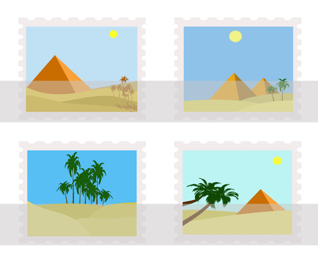 illustration of egypt pyramids on postage  stamps in album
