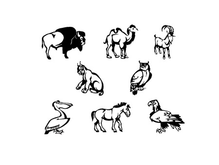 illustration of some  icons animals  black and white                              Illustration