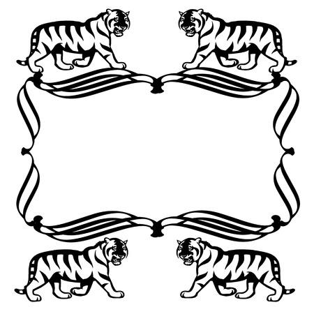 Illustration des Tigres noir et blancs Vecteurs