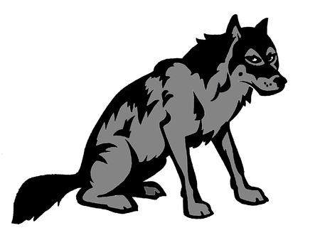 illustration of wild sitting wolf  black and grey                        Illustration