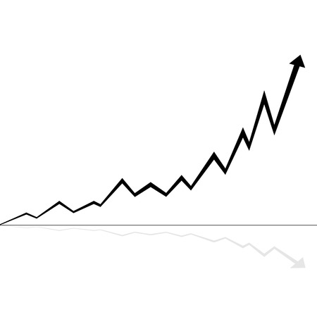 line graph: illustration of rising line black and white