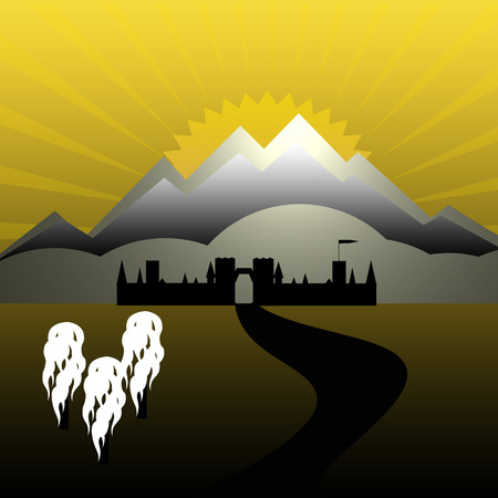 illustration of old europe town gate pass Vector