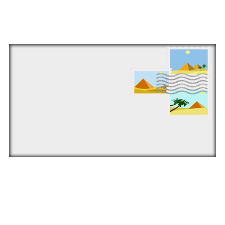 postman of the desert: illustration of egypt pyramids postage