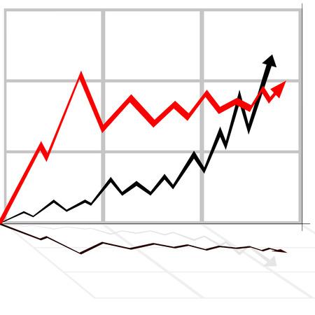 illustration of rising line black and white Stock Vector - 6824408