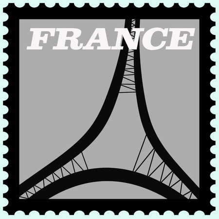 illustration of france postage  stamp  Vector