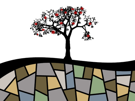 illustration of abstract tree with red flowers Illustration