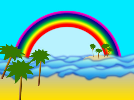 illustration of small island with palms and rainbow Stock Vector - 6924465