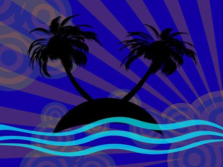 illustration of small island at night Stock Vector - 7009152
