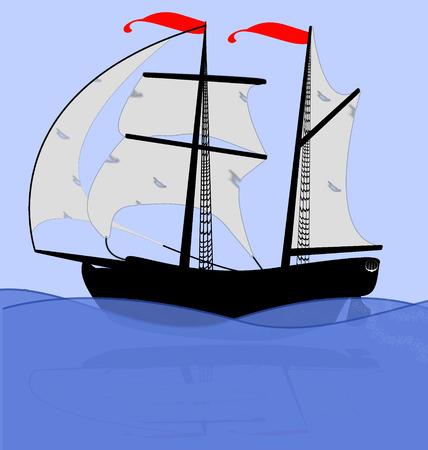 vecchia nave: illustrazione della vecchia nave  Vettoriali