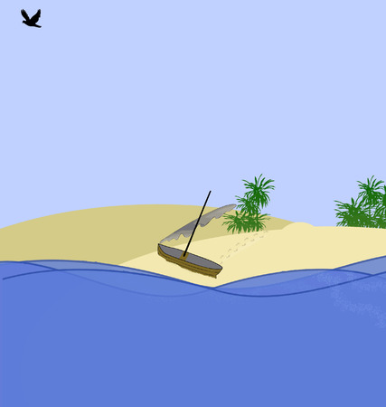 illustration island with small boat on sand