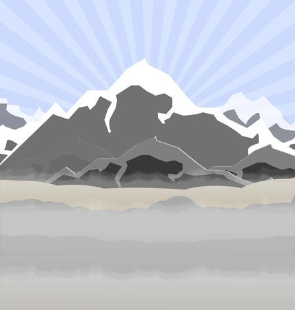 illustration of high mountains in fog
