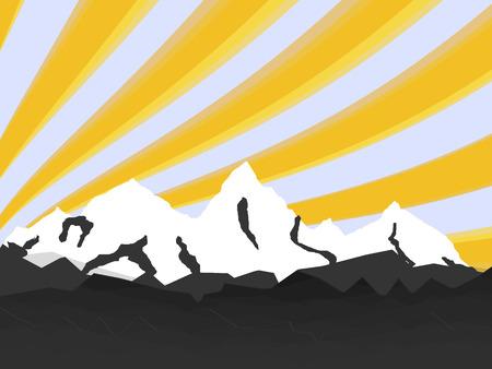 illustration high mountain with rays Stock Illustratie