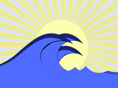 tidal: blue wave  in ocean Illustration