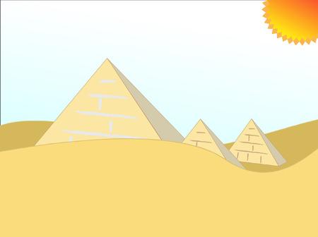 desert oasis: cartoon illustration egypt pyramids