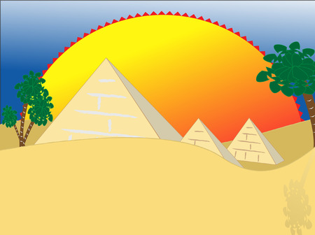 cartoon illustration egypt pyramids