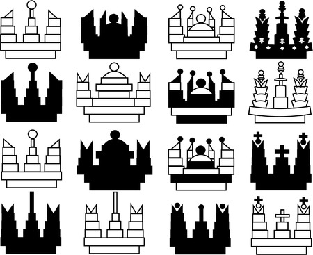 set of abstract crowns Vector