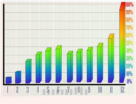 rising chart by month Stock Illustratie