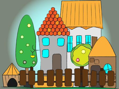 illustration cartoon country house  Vector