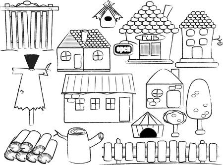illustration set of village buildings  Stock Illustratie