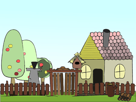 illustration  village