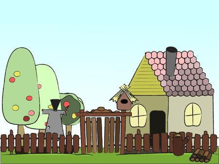 open garden gate:  illustration  village