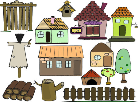 set of country buildings Illustration