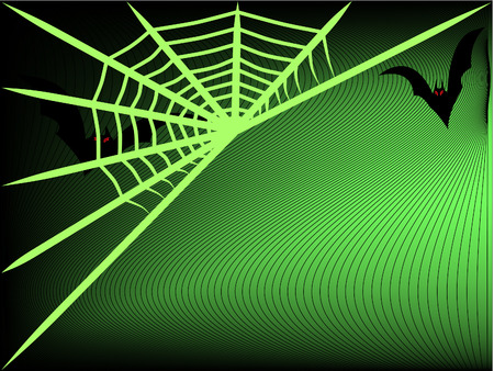 flying bats and spider net Stock Vector - 7983859