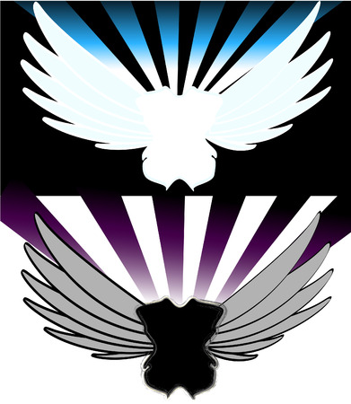wings in retro style Vector