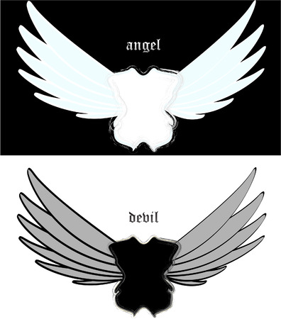 illustration white angel and black devil Stock Illustratie