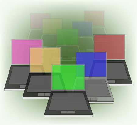 abstract background with computers  Vector
